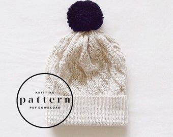 KNITTING PATTERN : Frida Hat / knitting pattern, knit hat pattern, textured hat pattern, gifts for her, beanie pattern, pattern knit hat