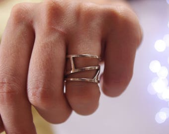 Modern Ring – Sterling Silver Contemporary Ring in Asymmetric  Design