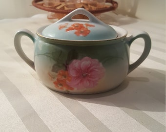 RS Gremany Sugar Bowl with Lid and 2 Handles Gold trim with Hand pa