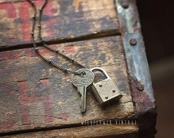 Tiny Padlock & Key Necklace | Vintage Repurposed Upcycled jewelry gift Lock