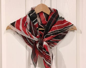 Vintage Italian scarf in black, white and red psychedelic stripes with rolled hem, made in Italy