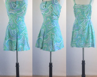 1960's Psychedelic Teal & Pink Swirl Playsuit Swimdress | Size Extra Large | VOLUP