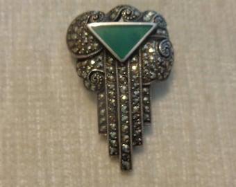 Vintage Art Deco Silver Marcasite Brooch