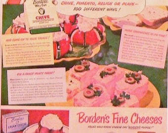 1950 Elsie the Cow Borden's Ad Matted Vintage Print