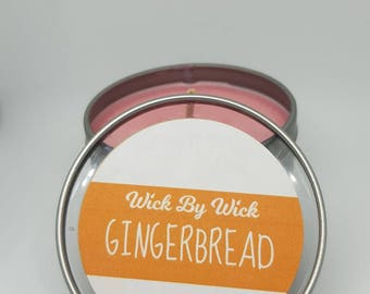 GingerBread Man Cookie Scented Soy Wax Travel Tin Candle 6oz