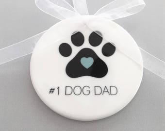 Dog Dad Ornament, Dog Dad, Dog Dad Gift, Gift for Dog Dad, Dog Paw Ornament, Paw Print Ornament, Dog Owner, Animal Lover, Ornaments, Pets