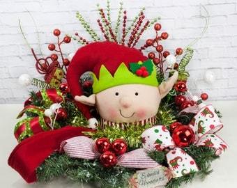 Light up Elf Centerpiece, Christmas Centerpiece, Red Hat Elf Snowman Centerpiece, Holiday Centerpiece, Pine Elf Centerpiece, Elf Table Decor