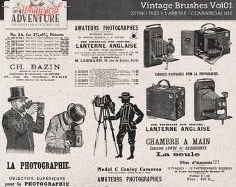 Vintage Photography Clip Art, Photoshop Brushes, Commercial Use OK, Instant Download, Vintage Newspaper Ads, Vintage Camera, Steampunk
