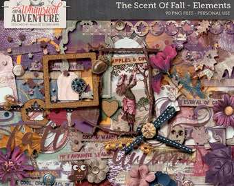 Scent Of Fall Digital Scrapbook Embellishments, Instant Download, Autumn Fall Leaves Clip Art, Woodland Elements, Cork Style, Paint, Wordart