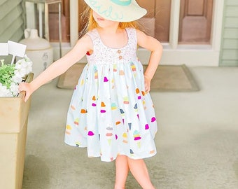 Ruffle Dress, Baby Girl Dress, Girls Summer Dress, Dress for baby girl, Toddler Girl Dress, Girls Ice Cream Party Dress / Flavor of the Day