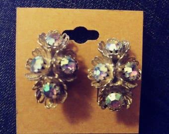 Aurora Borealis Bead flower on silver clip on earrings