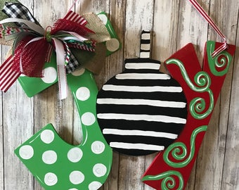 Joy sign, Christmas door hanger, Christmas wood sign, Christmas Joy sign, Joy door hanger, Christmas wreath, Joy wreath