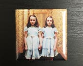 """The Shining Twins Magnet The Grady Twins Magnet Horror Magnet Jack Torrance Stanley Kubrick Stephen King 1.5 inch Magnet 1.5"""" Square Magnet"""