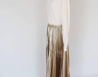 VTG Jean-Paul Gaultier Femme Pleated Metallic Maxi Skirt