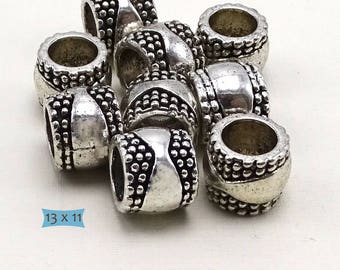 Big Hole Ethnic Nickel Free Metal Beads--10 Pcs. | 37-CLN203-10
