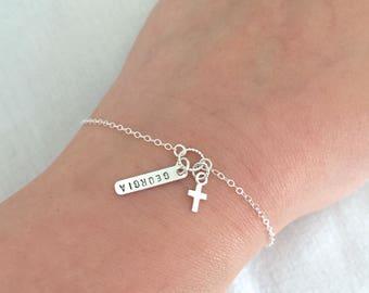 Personalized Name Cross Bracelet, Christening Gift, First Communion Gift, Baptism Bracelet, Baby Bracelet, Christening Bracelet, Goddaughter