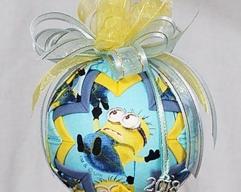 Yellow Minions Ornament, Christmas Ornament, Monsters Inc Minions, Quilted Ornament