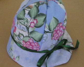 Girls cotton blue floppy hat with floral print