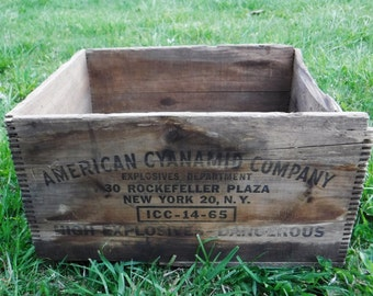 Rustic Wood Crate/Wood Box/Wooden Box/Storage/Explosives Crate/Rustic Decor/Industrial/Farmhouse Decor/Aged/American Cyanamid/Vintage