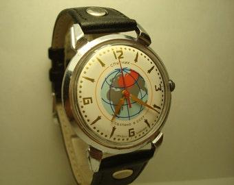 Men's Vintage Watch | Poljot Watch | Soviet Watch | Poljot Sputnik l Black Watch | Mens  Watch | Sputnik Watch | Watch Gift | Gift for Men |