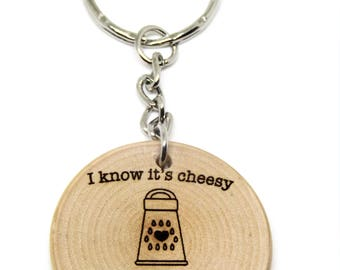 I Think You're Grate Cheesy Pun Quote Wooden Gift Keyring