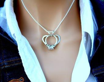 Heart Ring Holder Necklace, Wedding Ring Holder Necklace, Ring Holder Pendant, Argentium Sterling Silver