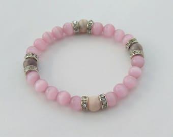 Bead Stretch Bracelet Light Pink