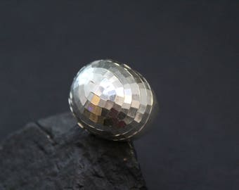 Sterling Silver Disco Ball Dome Ring, Disco Ball Jewelry, Disco Ring, Disco Ball Pattern Ring, Large Sterling Silver Dome Ring, Disco Era