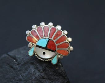 Sterling Silver Native American Zuni Sun God Ring, Sterling Zuni Ring, Zuni Inlay Ring, Sterling Sun God, Old Pawn Zuni Jewelry