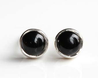 Black Onyx Silver Stud Earrings - Onyx Stud Earrings - Round Onyx Earrings - Sterling Silver Earrings - Black Onyx Jewellery Jewelry - B45
