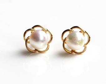9ct Carat Gold Freshwater Cultured Pearl Stud Earrings - Pearl Earrings - Yellow Gold Pearl Stud Earrings - Gold Earrings - B41