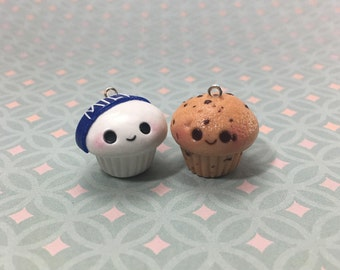 Cookies and Milk Cupcake Charms, Best Friends, BFF Set, Polymer Clay, Handmade, Jewelry