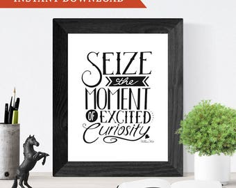 Printable Wall Art, Hand-Lettering, Home Decor // Seize the Moment of Excited Curiosity // Instant Download Printable Art
