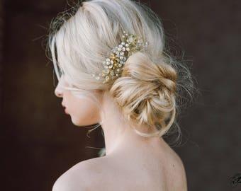 Gold Leaf Hair Comb, Wedding Hair Piece, Blossom Headpiece, Leaf Hair Accessory, Bridal Leaf Comb, Wedding Headpiece, Bridal Pearl Hairpiece