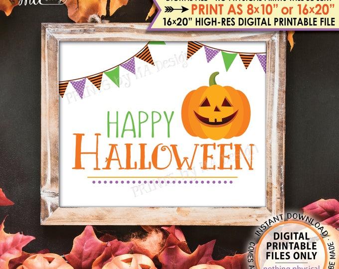"Happy Halloween Sign, Orange Purple Green Halloween Print, Pumpkin, Jack-O-Lantern, PRINTABLE 8x10/16x20"" Instant Download Sign"