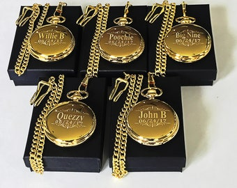 5 Gold Groomsmen gifts - Engraved pocket watches -Gold personalized pocket watch in gift box - Custom engraved gift -Wedding gifts for him