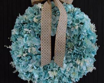 Turquoise Hydrangea Wreath | Front Door Wreath | Spring Wreath | Summer Wreath | Blue Hydrangea Wreath | Wedding Wreath | Romantic Wreath