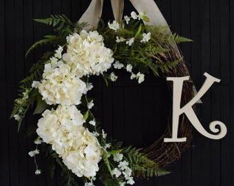 Personalized Cream Hydrangea Wreath | Front Door Wreath | Spring Wreath | Summer Wreath | Monogram Wreath | Housewarming Wedding Gift