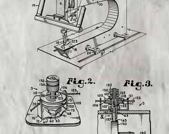 Sewing Machine Patent #5001997 dated March 26,1991 . Restored and in various sizes and color background.