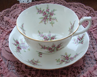 Hammersley & Co - Made in England Bone China - Vintage Tea Cup and Saucer -  Purple and White Flowers with Gold Trim
