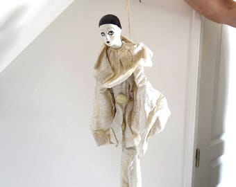 Vintage Pierrot String Puppet - French Antique Marionette
