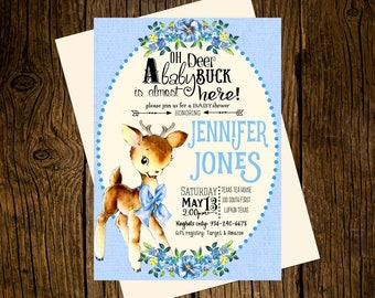 Deer Woodland Baby Shower Invitations Personalized Custom Printed Set of 12 Party Invites Vintage Ecru Blue Boy