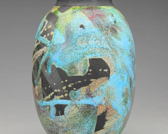 Raku Pottery - Turquoise Splash Raku Vase - Ceramic Vessel - Darrin Darazsdi - CapeFearRakuPottery - Fine Art