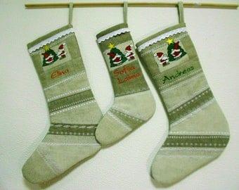 Christmas stockings Custom Xmas stocking Handmade sock Personalized sock Embroidered sock Christmas stocking Keepsake holiday linen decor