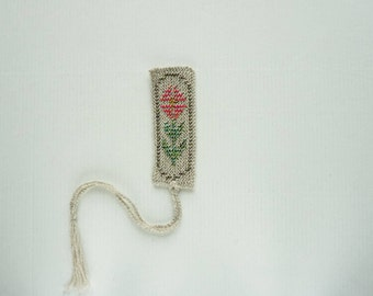 Knitted bookmark - grey or oatmeal wool with pink, green and white glass beads, handmade bookmark, flower, fabric bookmark - ready to ship
