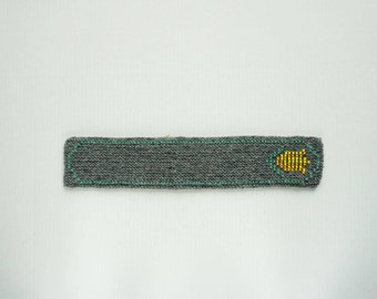 Knitted tulip bookmark - grey wool with yellow, orange and green glass beads, handmade bookmark, fabric bookmark - ready to ship