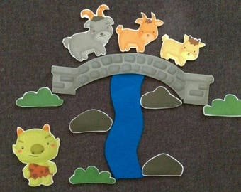 3 Billy Goats Gruff Felt Set // Flannel Board Story Set // Preschool // Teacher Story // Nursery Story //