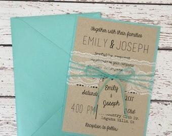 blue wedding invitation, rustic wedding invitation, rustic lace invitation, turquoise invitation, shabby chic invitation, elegant invitation
