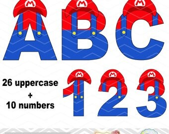 Digital Super Mario Clipart, Super Mario Alphabet Clip Art, Super Mario Number Clipart, Super Mario Letters Clip Art, Super Mario Alpha 0122