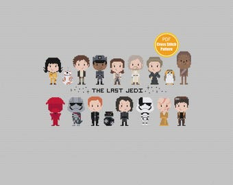 Star Wars Cross stitch Pattern - PDF file Instant Download - The Last Jedi - Kylo Ren - Rey - Finn - Porg  Crossstitch - Disney Cross stitch